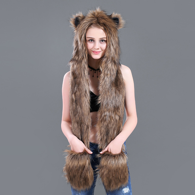 Faux Fur Winer Warm Hoods Hat Scarf Gloves with Paws Ears 3-in-1