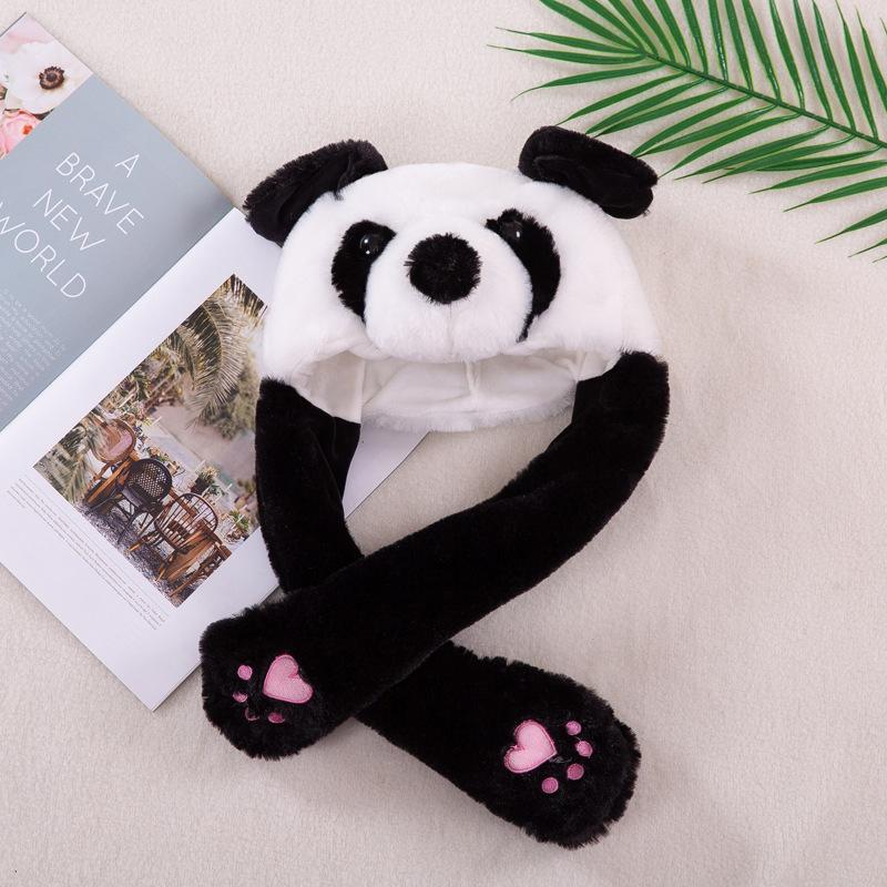 Panda Animal Movable Ears Jumping Soft Plush Hat