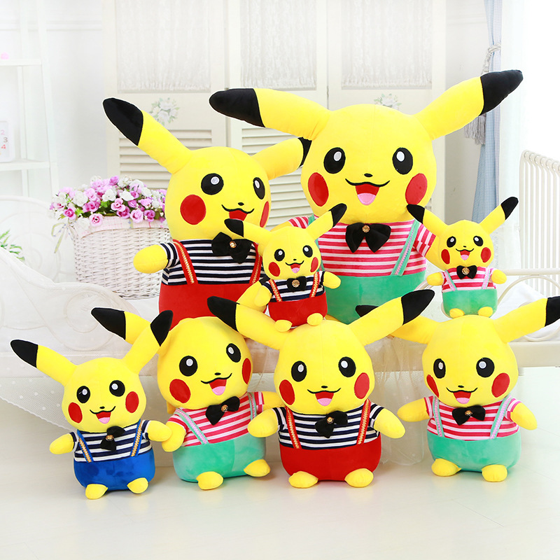 Stripes Pikachu Pokemon Soft Stuffed Plush Animal Doll for Kids Gift