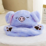 Pig Animal Movable Ears Jumping Soft Plush Hat
