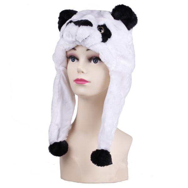 Black and White Panda Warm Crozy Soft Plush Hat Winer Ear Flap Beanie For Kids