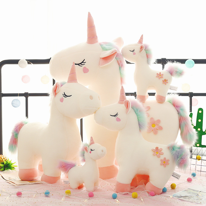 Rainbow Unicon Flowers Soft Stuffed Plush Animal Doll for Kids Gift