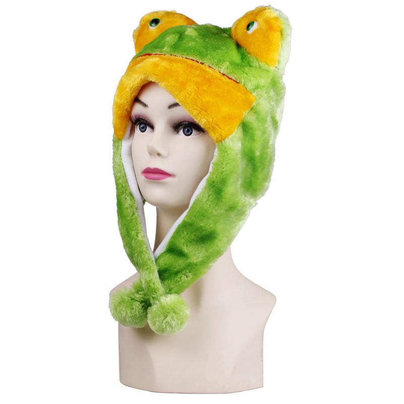 Green Frog Warm Crozy Soft Plush Hat Winer Ear Flap Beanie For Kids