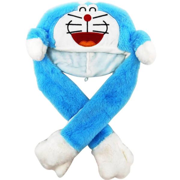 Blue Doraemon Funny Animal Movable Ears Jumping Soft Plush Hat