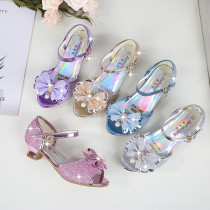Kid Girls Sequins Glitter 3D Diamond Pearl Bowknot Open-Toed Sandals High Pumps Dress Shoes