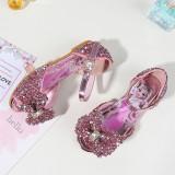 Kid Girls Frozen Princess Aisha Sequins Bowknot Open-Toed Flat Sandals