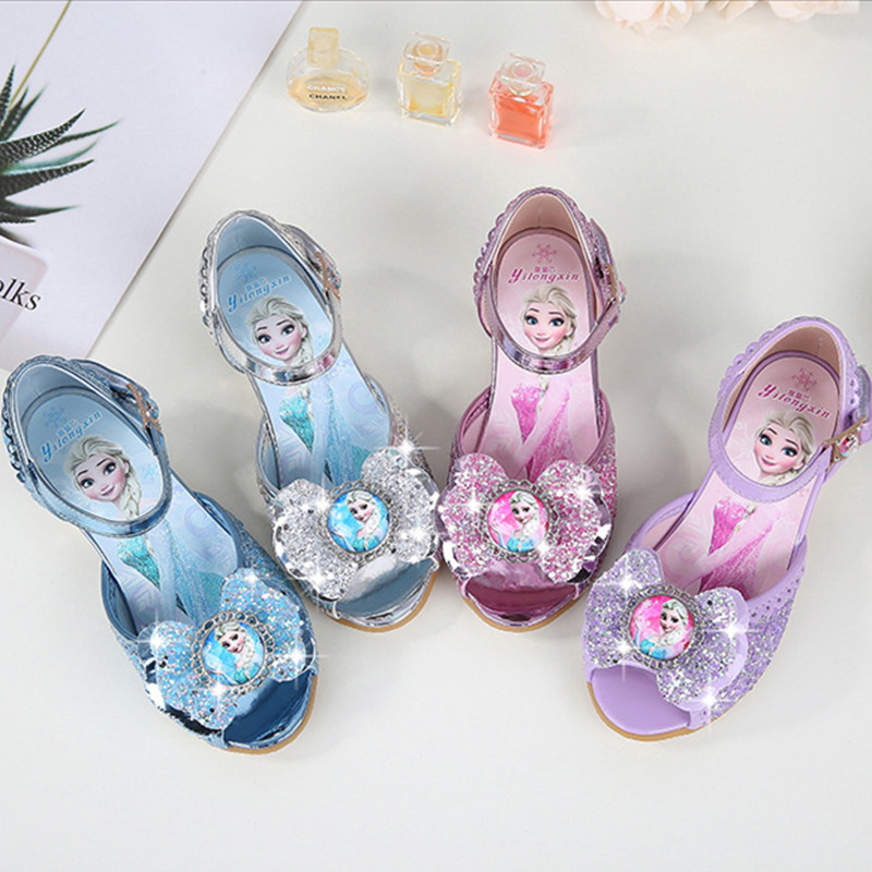 Kid Girls Frozen Sequins Diamond Bowknot Open-Toed Sandals High Pumps Dress Shoes
