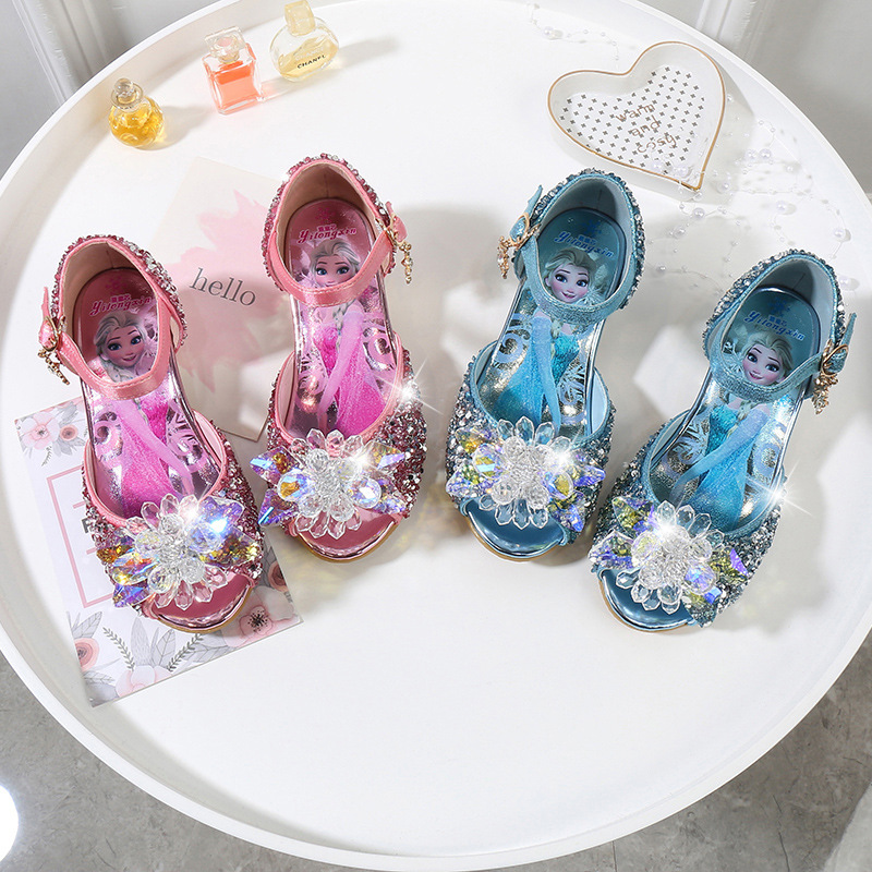 Kid Girls Sequins Crystal Flower Frozen Princess Open-Toed High Pumps Sandals Dress Shoes