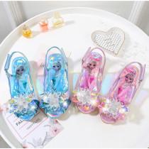 Kid Girls Sequins Crystal Flower Frozen Princess Open-Toed Sandals Glossy Heel Pumps Dress Shoes