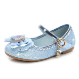 Kid Girls Frozen Princess Sequins Bowknot Diamond Heel Pumps Dress Shoes