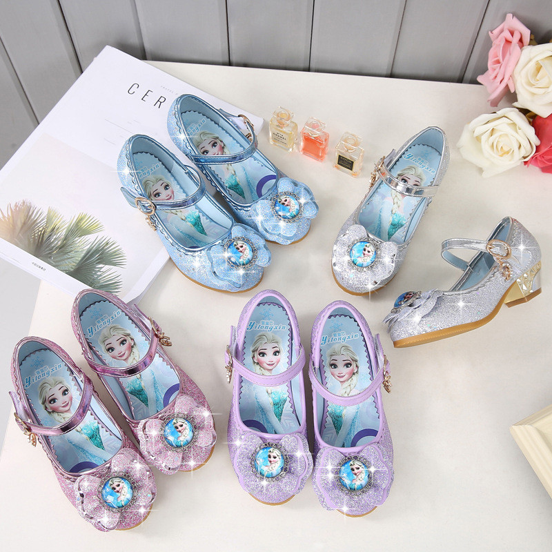 Kid Girls Frozen Sequins Diamond Bowknot High Pumps Dress Shoes