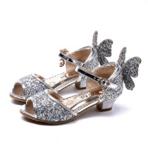 Kid Girls Sequins Glitter 3D Butterfly Open-Toed Sandal High Pumps Dress Shoes
