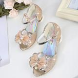 Kid Girls Sequins Glitter 3D Diamond Pearl Bowknot Open-Toed Sandals High Pumps Dress Shoes