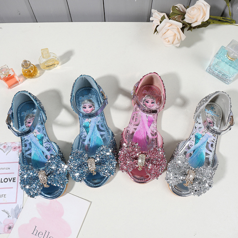 Kid Girls Frozen Princess Aisha Sequins Bowknot Open-Toed Flat Sandals