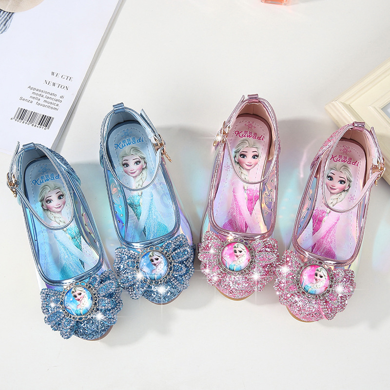Kid Girls Sequins Frozen Princess Glossy Heel Pumps Girl Dress shoes