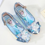 Kid Girls Crystal Flower Sequins Frozen Glossy High Pumps Dress Shoes
