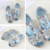 Kid Girls Sequins Diamond Frozen Princess Open-Toed High Pumps Sandals Dress Shoes