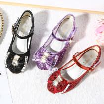 Kid Girls Sequins 3D Diamond Bowknot High Pumps Dress Shoes