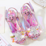 Kid Girls Sequins Crystal Flower Frozen Princess Open-Toed Sandals Glossy Heel Pumps Dress Shoes