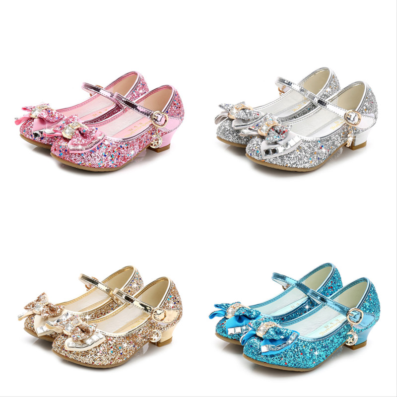 Kid Girls Sequin Glitter Bow Diamond Heels Pumps Dress Shoes