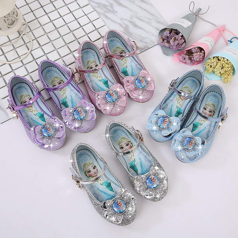 Kid Girls Frozen Princess Sequins Bowknot Diamond Heel Pumps Dress Shoes