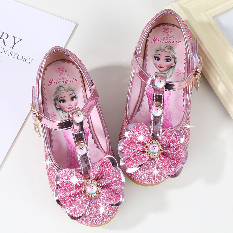 Kid Girls Sequins Frozen Princess Diamond Bowknot High Pumps Dress Shoes