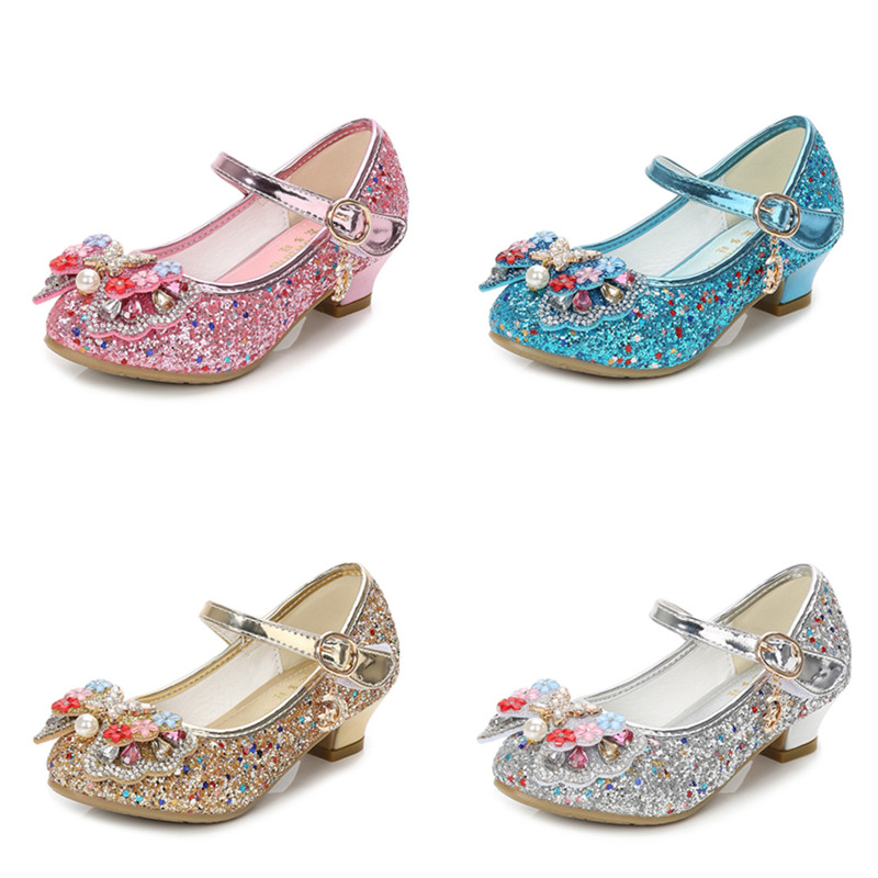 Kid Girls Sequins Glitter Pearl Flowers Diamond Butterfly Bowknot High Pumps Dress Shoes