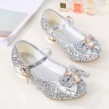 Kid Girls Sequin Glitter Bow Diamond Heels Pumps Dress Shoes