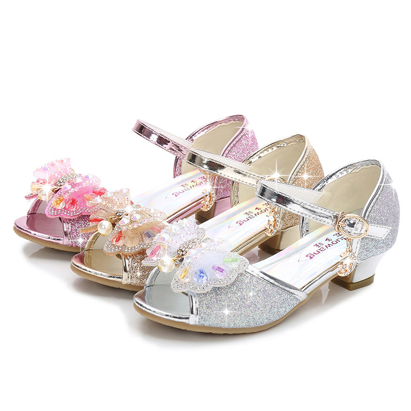 Kid Girls Sequins 3D Pearl Colorful Jewel Bowknot Open-Toed Sandal High Pumps Dress Shoes