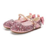 Kid Girls Sequins Pearl 3D Bowknot Flat Dress Shoes
