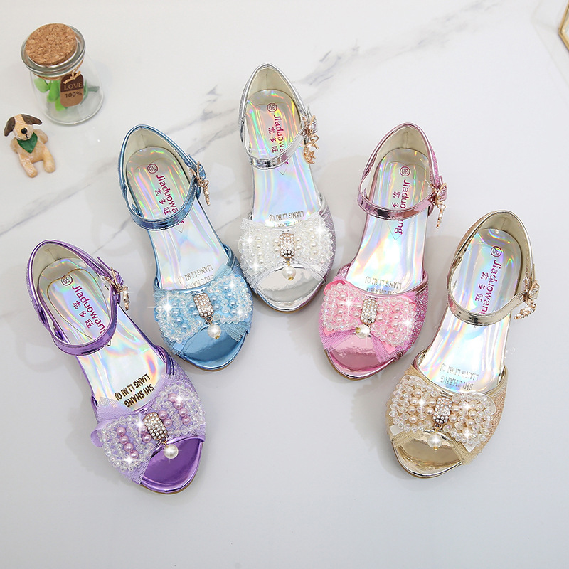 Kid Girls Sequins 3D Pearl Lace Bowknot Open-Toed Sandal High Pumps Dress Shoes