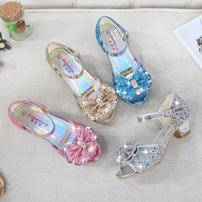 Kid Girls Sequins 3D Pearl Jewel Bowknot Open-Toed Sandal High Pumps Dress Shoes