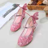 Kid Girls 3D Butterfly Sequins Glitter High Pumps Dress Shoes