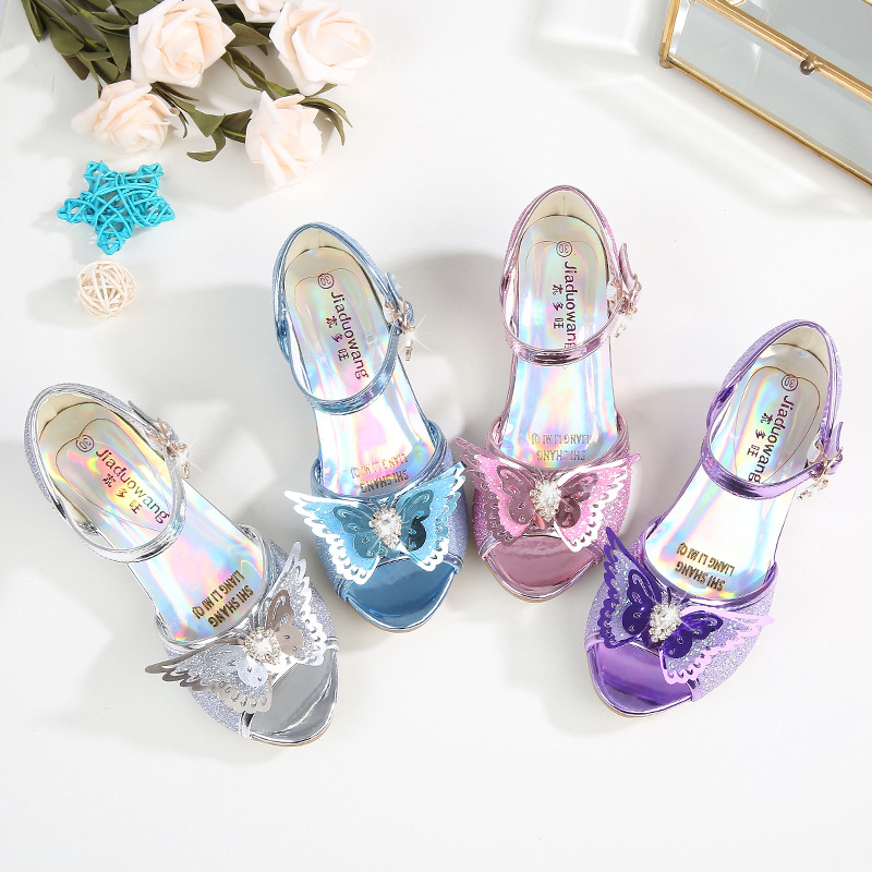 Kid Girls Sequins 3D Diamond Butterfly Open-Toed Sandals High Pumps Dress Shoes