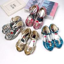 Kid Girls Sequins 3D Diamond Bowknot Open-Toed Sandals High Pumps Dress Shoes
