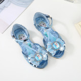 Kid Girls Frozen Princess Aisha Sequins 3D Bowknot Open-Toed Flat Sandals Dress Shoes