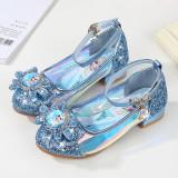 Kid Girls Sequins Frozen Princess Glossy Heel Pumps Girl Dress shoes