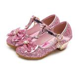 Kid Girls Sequins Frozen Princess Diamond Bowknot High Pumps Dress Shoes