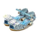 Kid Girls Sequins Crystal Flower Frozen Princess Open-Toed High Pumps Sandals Dress Shoes