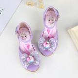 Kid Girls Frozen Sequins Diamond Bowknot Open-Toed Sandals High Pumps Dress Shoes