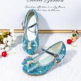 Kid Girls Sequins Glitter 3D Rainbow Diamond Bowknot High Pumps Dress Shoes