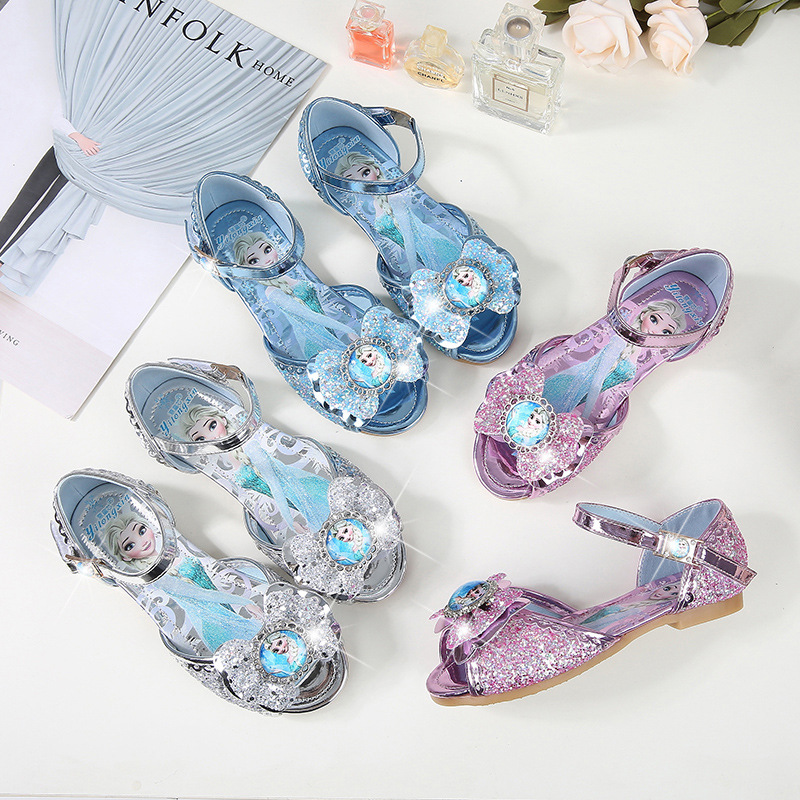 Kid Girls Frozen Princess Aisha Sequins 3D Bowknot Open-Toed Flat Sandals Dress Shoes