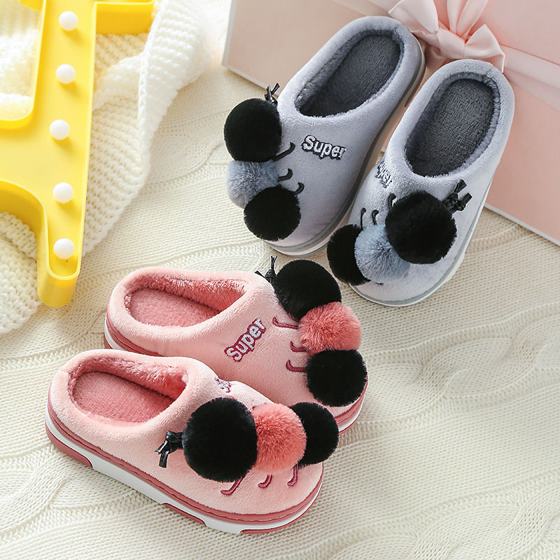 Toddlers Kids 3D Caterpillar Flannel Warm Winter Home House Slippers