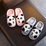 Toddlers Kids Pompom Panda Flannel Warm Winter Home House Slippers