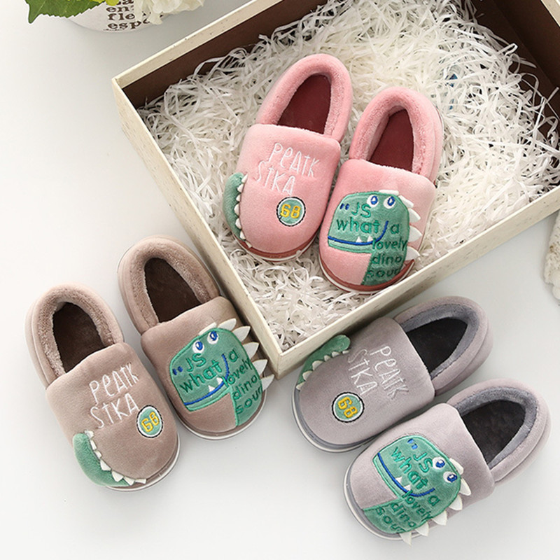 Toddlers Kids 3D Dinosaur Warm Winter Home House Slippers Shoes