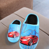 Toddlers Kids Racing Car Flannel Warm Winter Home House Slippers