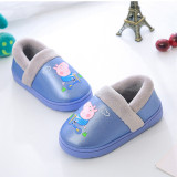 Toddlers Kids PU Peppa Pig Warm Winter Home House Slippers Shoes