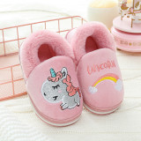 Toddlers Kids Embroidered Unicorn Rainbow Flannel Warm Winter Home House Slippers