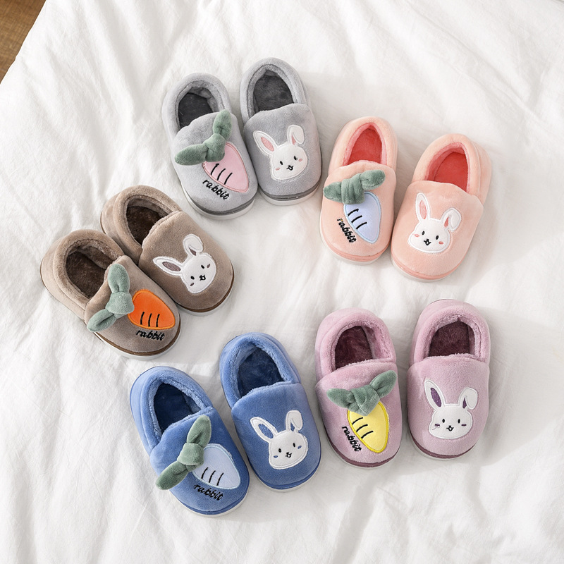 Toddlers Kids Rabbit Carrot Flannel Warm Winter Home House Slippers Shoes