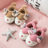 Toddlers Kids 3D Christmas Deer Flannel Warm Winter Home House Family Slippers Shoes For Kids and Parents